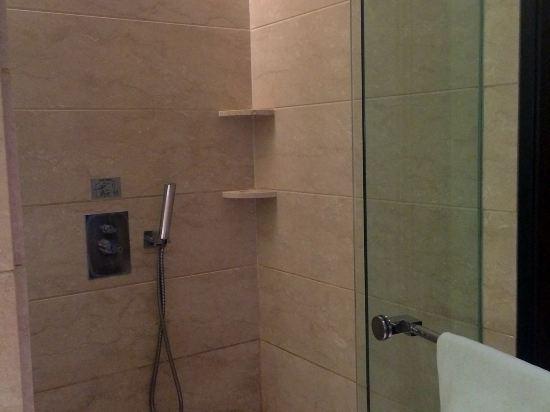 淋浴房空间挺大的,是长方形,莲蓬头有两种,热水很快出,水也也足够大
