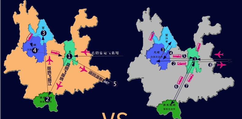 云南大理+丽江+西双版纳8日7晚跟团游·纯玩丨丽江-版纳-昆明环飞丨