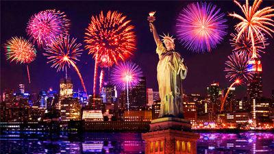 纽约节日的缤纷烟火