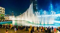观赏迪拜喷泉