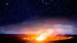 在世界上壮观的火山口观星