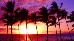 夏威夷日出时分宁静的海面