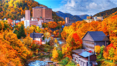 定山溪红枫 如画般美景