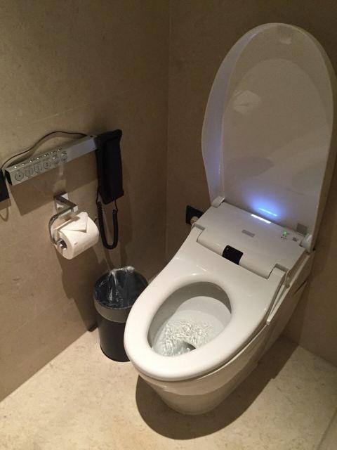 酒店厕所超级大,马桶全自动