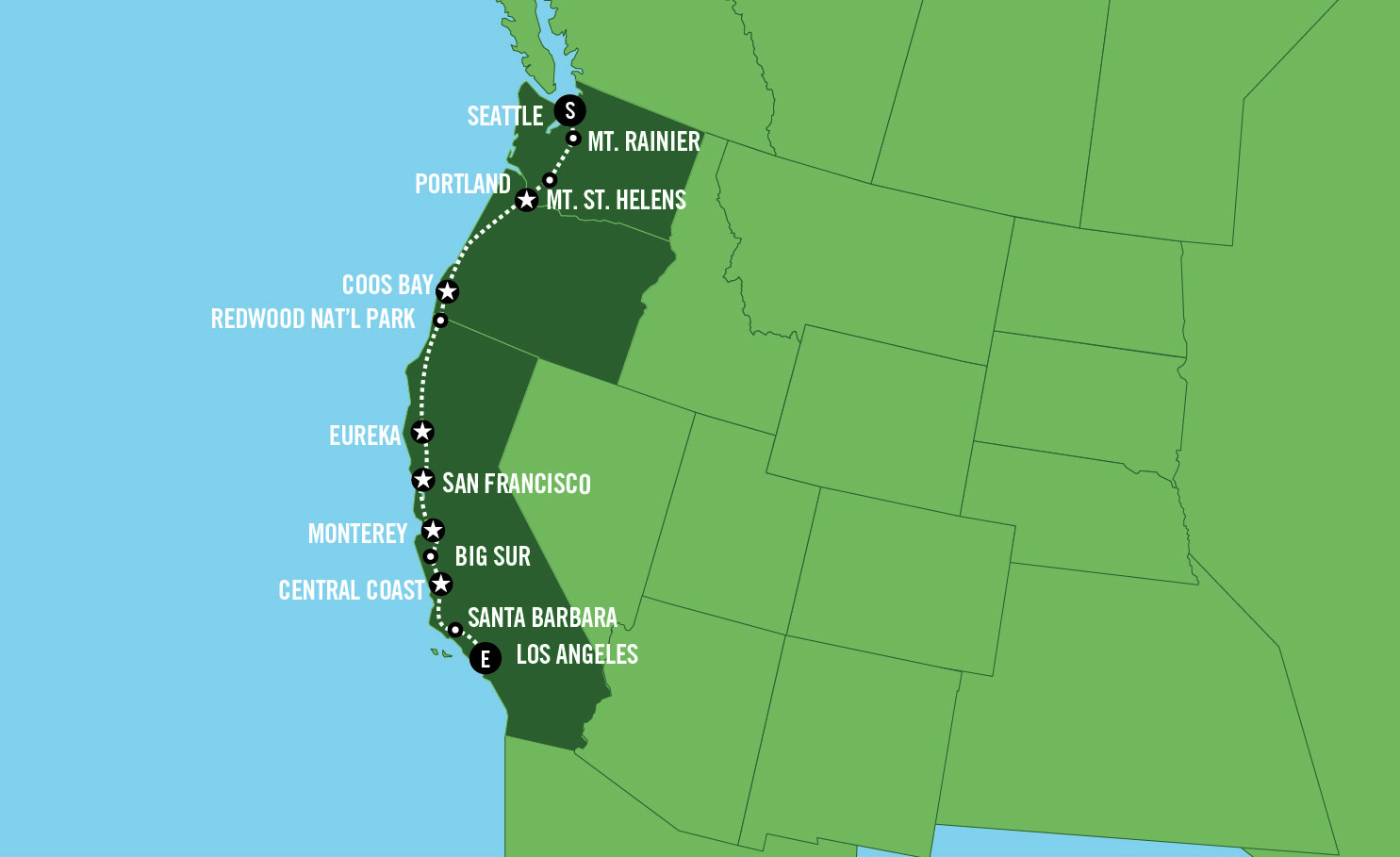 美国洛杉矶+旧金山+西雅图11日10晚半自助游·太平洋