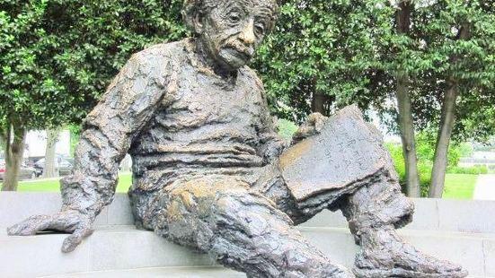 Einstein copper sculpture