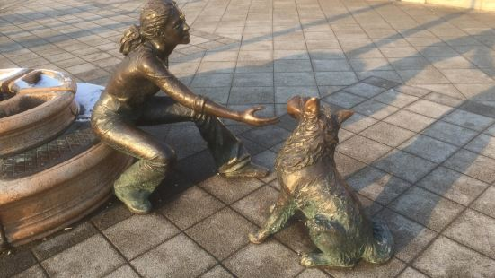 """Girl With Her Dog"" Statue"