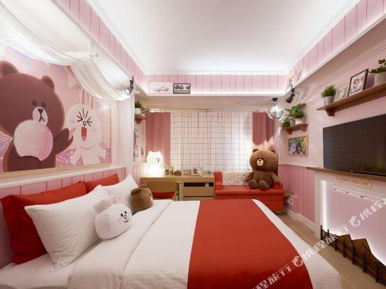 首爾明洞喜普樂吉酒店(原首爾黃金鬱金香M酒店)(Sotetsu Hotels The SPLAISIR Seoul Myeongdong)Line Friends 主題房 大床(布朗熊&可妮兔)
