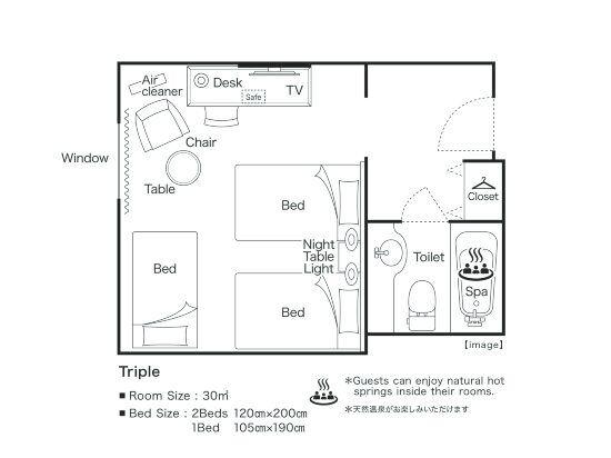 大阪阪神酒店(Hotel Hanshin Osaka)高級三人房