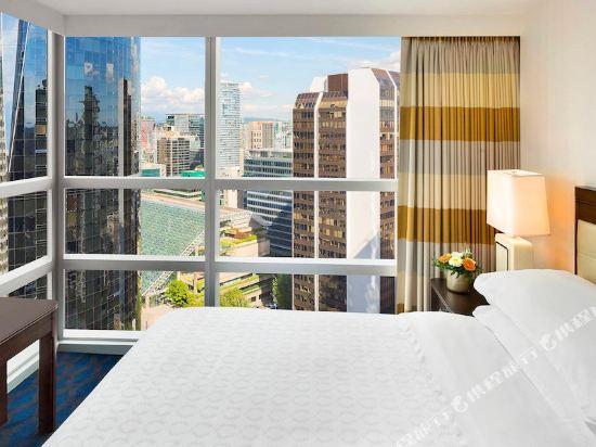 温哥華喜來登華爾中心酒店(Sheraton Vancouver Wall Centre)城景南塔樓一卧室行政兩張特大床套房