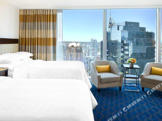温哥華喜來登華爾中心酒店(Sheraton Vancouver Wall Centre)北塔樓城景客房帶兩張雙人床