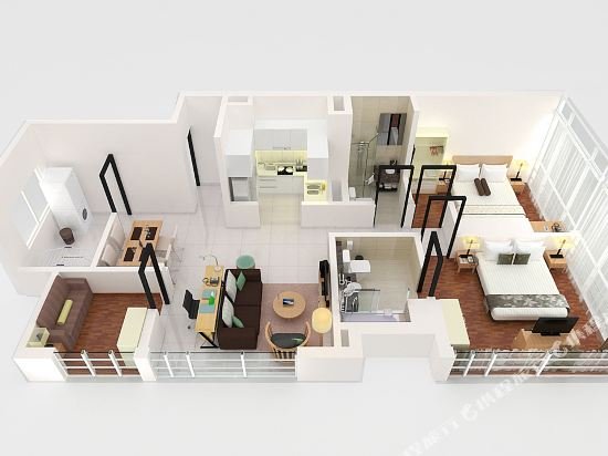 吉隆坡泛太平洋賓樂雅服務公寓(Parkroyal Serviced Suites Kuala Lumpur)Two Bedroom Suite Floorplan