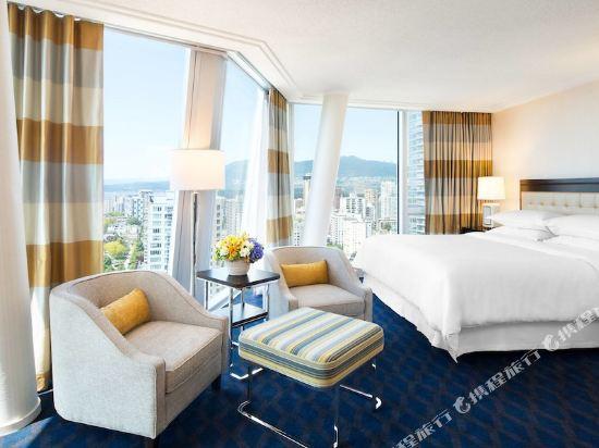 温哥華喜來登華爾中心酒店(Sheraton Vancouver Wall Centre)城景北塔樓大型轉角特大床房
