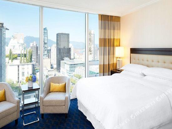 温哥華喜來登華爾中心酒店(Sheraton Vancouver Wall Centre)北塔樓城景客房帶一張特大床