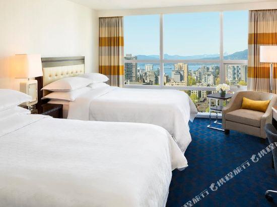 温哥華喜來登華爾中心酒店(Sheraton Vancouver Wall Centre)南塔樓城景高層客房帶兩張雙人床
