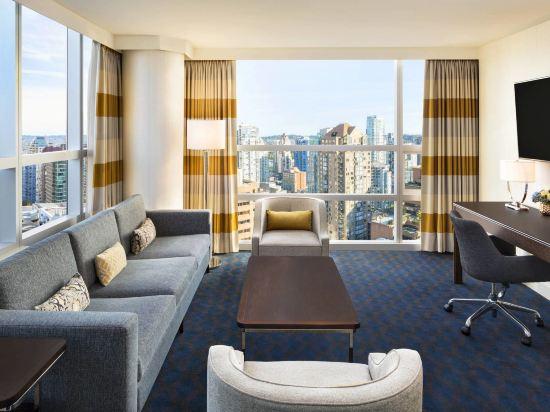 温哥華喜來登華爾中心酒店(Sheraton Vancouver Wall Centre)俱樂部樓層兩卧室套房
