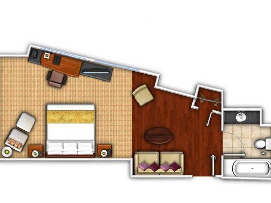 紐約市中心萬豪酒店(New York Marriott Downtown)哈得遜河景轉角精緻套房(帶沙發床)