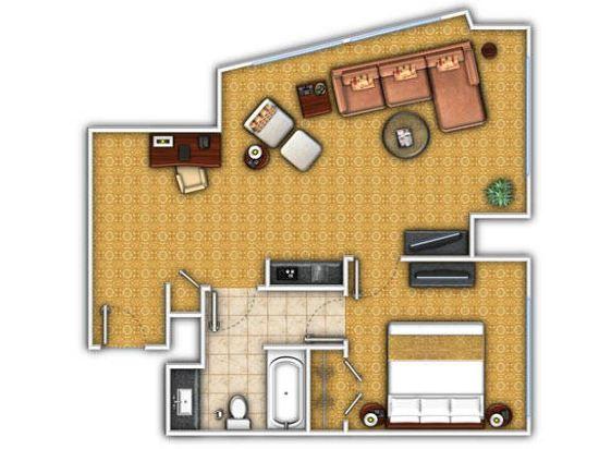 紐約市中心萬豪酒店(New York Marriott Downtown)特大床套房(帶沙發床)
