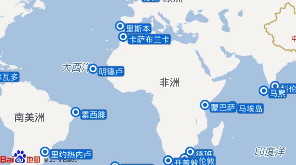 Columbus航线图