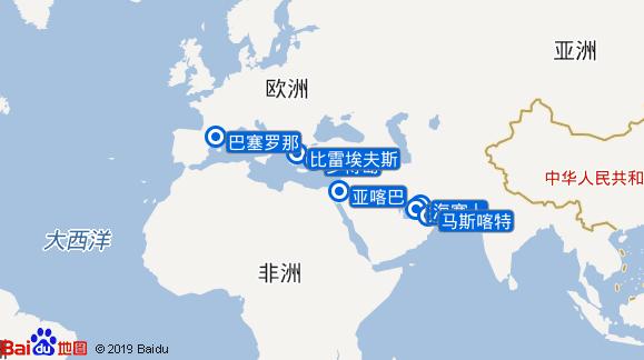 海洋珠宝号航线图