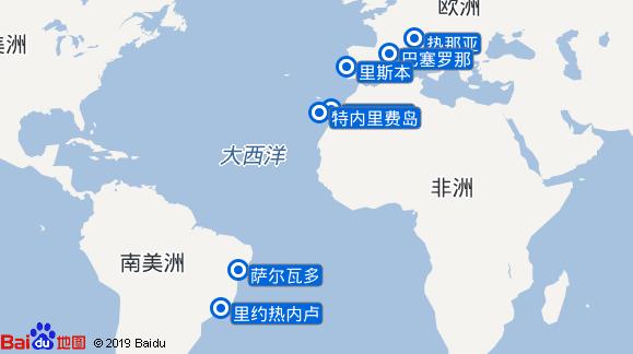 地中海鸿图号航线图
