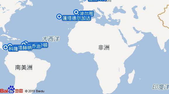 哥伦布 Columbus航线图