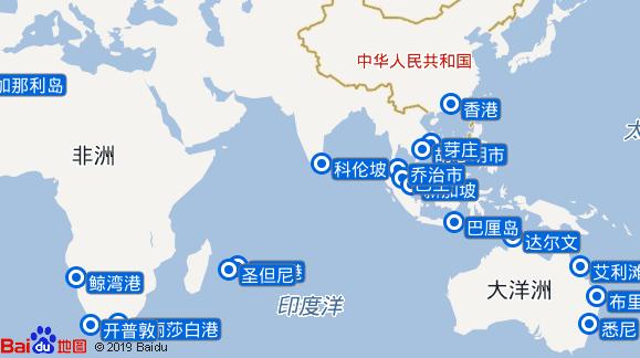 维多利亚女王号航线图