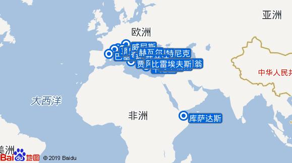 威仕特丹号航线图