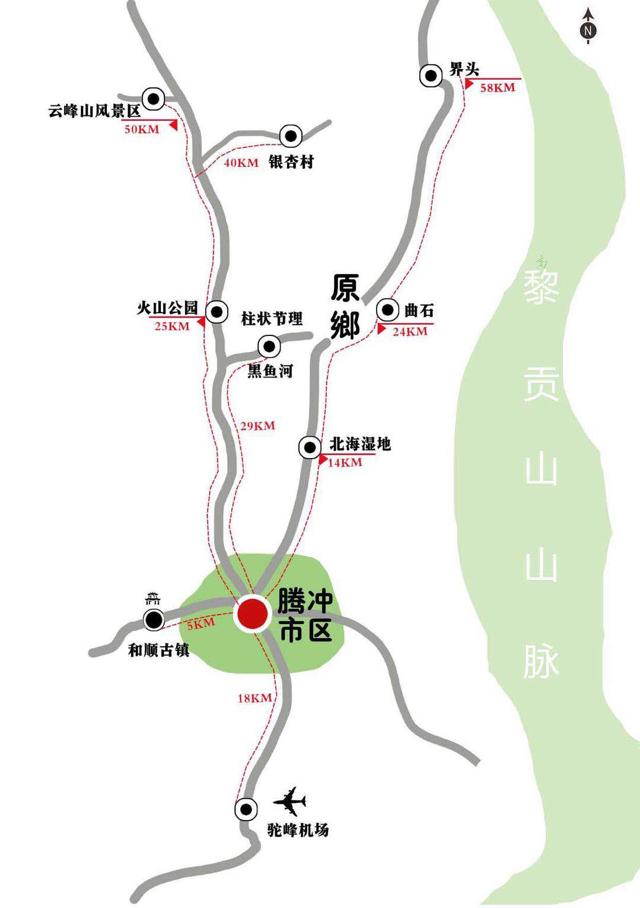 腾冲旅游地图及线路推荐