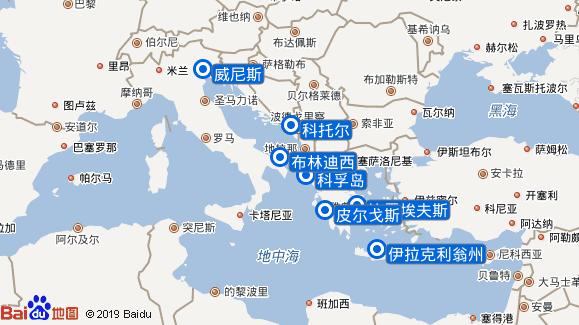 地中海音乐号航线图