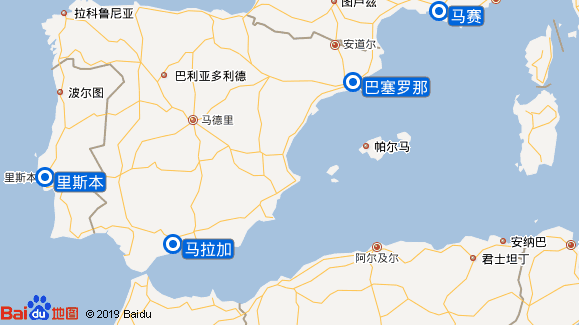地中海辉煌号航线图