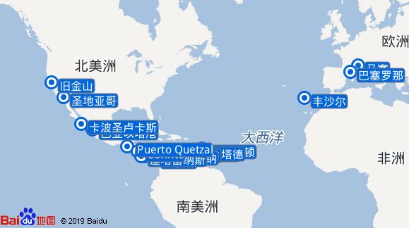 地中海诗歌号航线图