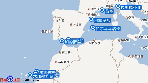 诺瓦号航线图