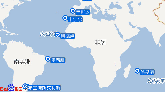 奥拉号航线图