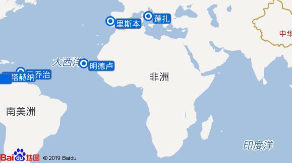 瓦斯科·达·伽马 Vasco Da Gama 航线图