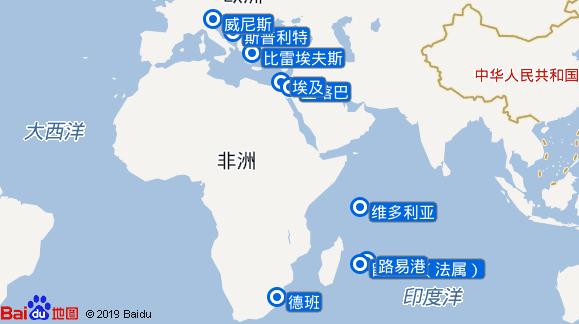 地中海歌剧号航线图