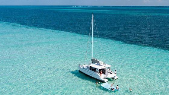 Puerto Morelos Catamaran Secret Sandbar Sail with Lunch and Drinks