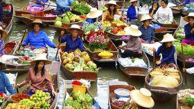 曼谷丹嫩沙多水上集市+美功铁道市场+坐小火车一日游【赠美食餐券 可选骑大象/手划船】
