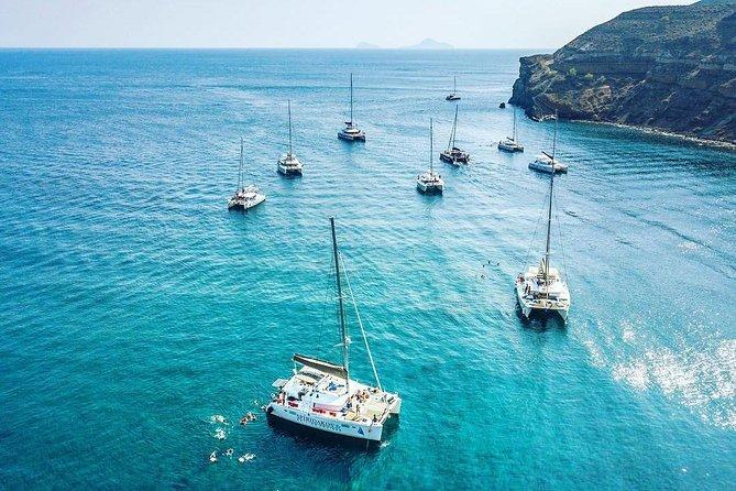 SemiPrivate Standard Santorini Catamaran Cruise with Greek buffet and drinks