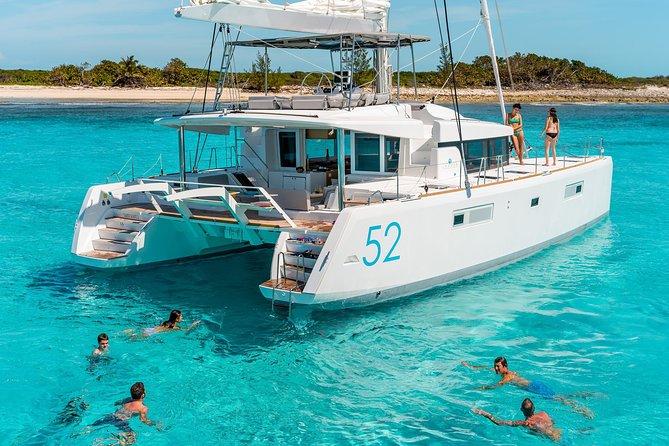 Santorini Luxury Sailing Catamaran Cruise with BBQ, drinks, transfer