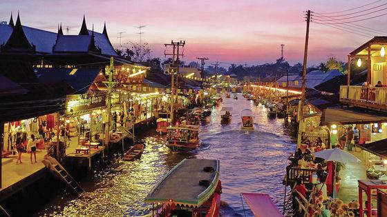 曼谷丹嫩沙水上市場+美功鐵道市場+Asiatique 碼頭夜市一日遊(可 VIP 路線)