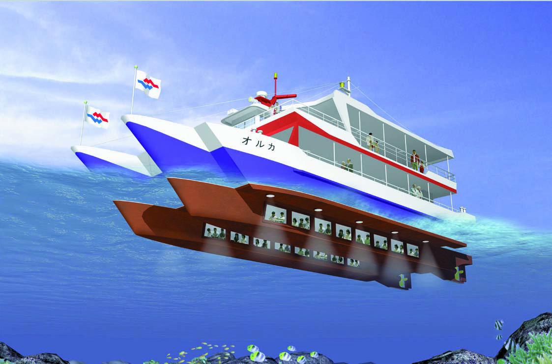 日本沖繩縣那霸 Orca 水中觀光船出海賞熱帶魚群,珊瑚群半日遊(海底觀光玻璃船)