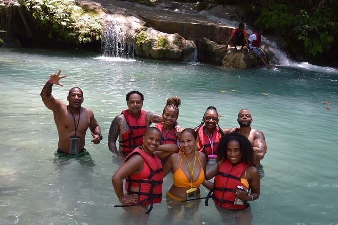 Private blue hole waterfalls + calypso river rafting tour from Ocho rios