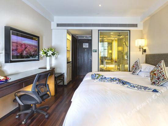 上海同文君亭酒店豪華雙床房